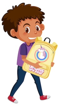Boy holding cute backpack cartoon character