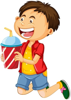 A boy holding drink cup cartoon character isolated on white background