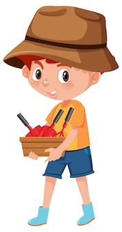 Мальчик держит садовый инструмент мультипликационный персонаж