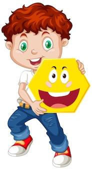 Мальчик держит геометрическую форму