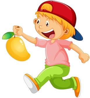 Un ragazzo che tiene il personaggio dei cartoni animati di frutta mango isolato su sfondo bianco