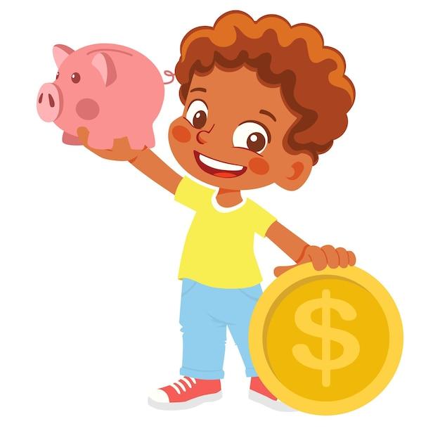 Мальчик держит копилку и деньги