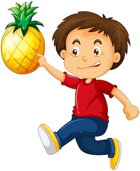 Un ragazzo che tiene il personaggio dei cartoni animati di ananas isolato su bianco