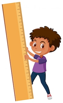A boy holding ruler