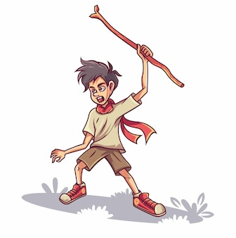 Мальчик держит палку