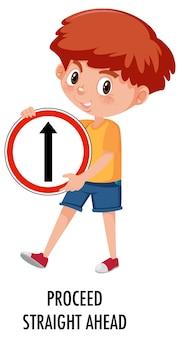 Boy holding traffic sign isolated on white background