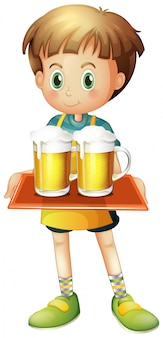 A boy holding a tray of beer