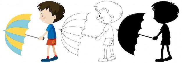 색상 및 개요 및 실루엣에서 우산을 들고 소년