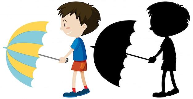 색상과 실루엣에 우산을 들고 소년