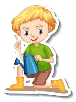 Un ragazzo che tiene in mano un annaffiatoio adesivo personaggio dei cartoni animati