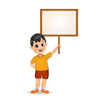 Boy holding wooden empty board