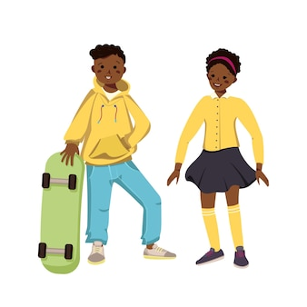 Boy in hoodie and jeans and girl in skirt and shirt with dark skin and black hair.