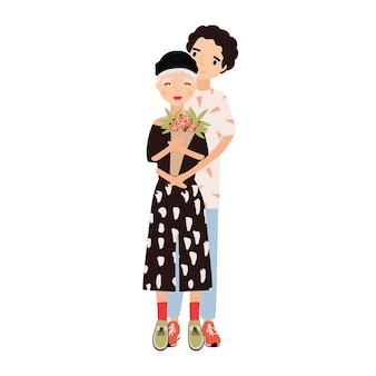 花束を持っている女の子を抱き締める少年。デートに寄り添うかわいいロマンチックなカップル。恋に若い男と女。孤立した幸せな漫画のキャラクター