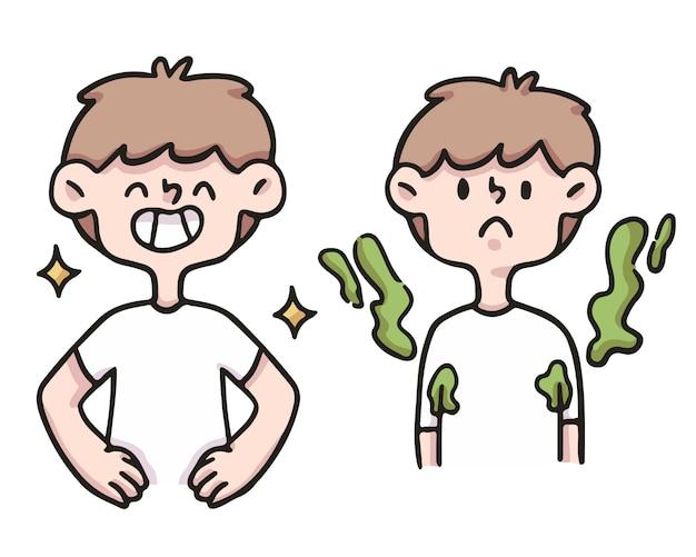 Иллюстрация гигиены шаржа мальчика милая