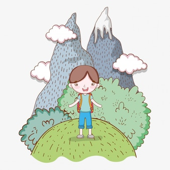 Boy in the ice mountains with clouds and trees