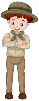 白地に茶色の制服を着た少年