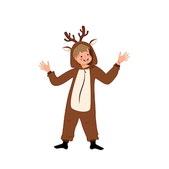 鹿のカーニバル衣装を着た少年。パジャマパーティー、劇場、新年、クリスマス、ハロウィーンのお祝いの服。幸せそうな顔と笑顔の感情で踊る子供