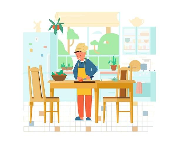 Мальчик в шляпе шеф-повара и аптон, делая салат на кухне плоской иллюстрации