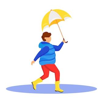 Мальчик в пальто плоский мультипликационный персонаж