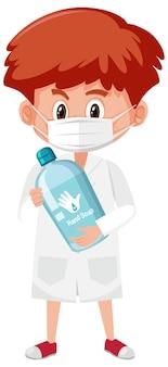 白い背景で隔離のハンド石鹸オブジェクトを保持している医者の衣装の少年