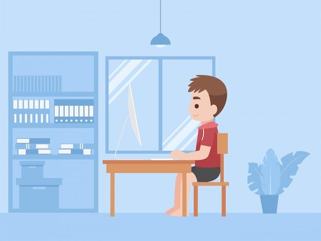 Мальчик в новой нормальной жизни учит дистанционное обучение уроков дома самостоятельно учя для предотвращает концепцию дистанционного обучения коронавируса.