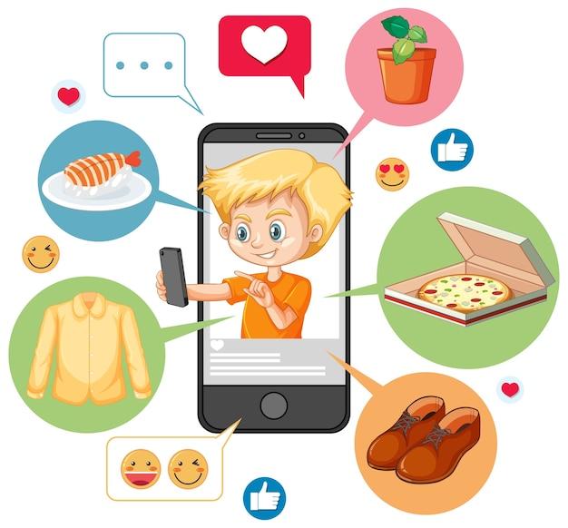 白い背景で隔離のスマートフォンの漫画のキャラクターを検索しているオレンジ色のシャツの少年