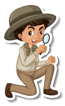 Мальчик в костюме сафари, мультяшный персонаж, наклейка