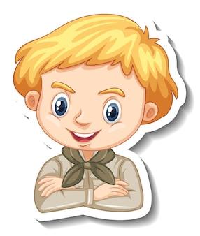 사파리 옷을 입은 소년 만화 캐릭터 스티커