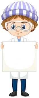 ホワイトボードを保持している科学のガウンの少年