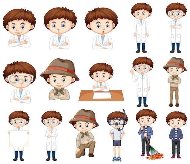 Мальчик в научной одежде во многих позах