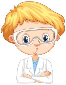 白い背景の上の科学のガウンの少年