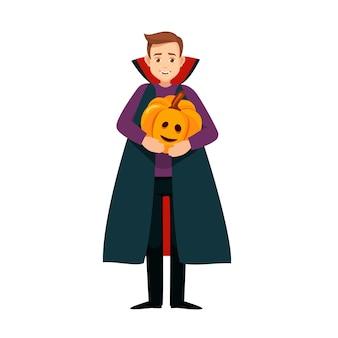할로윈 휴가를 위해 호박 벡터 남성 캐릭터와 함께 드라큘라 의상을 입은 소년