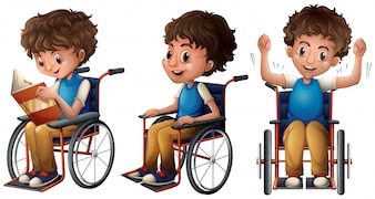 Boy in wheelchair doing three things