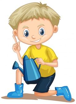 水まき缶で黄色のシャツの少年