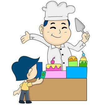 소년이 케이크를 사고 있다. 만화 삽화 스티커 이모티콘