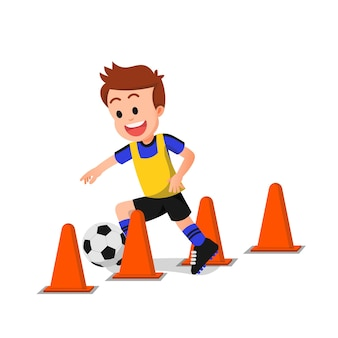 A boy is feeling excited in soccer practice