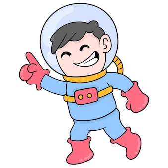 Boy is going on an adventure wearing an astronaut suit to space, vector illustration art. doodle icon image kawaii.