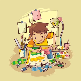 A boy is painting on paper using paint hand drawn illustration
