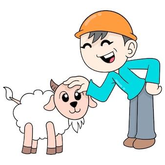 少年はかわいいふわふわ羊、ベクトルイラストアートで遊んでいます。落書きアイコン画像カワイイ。