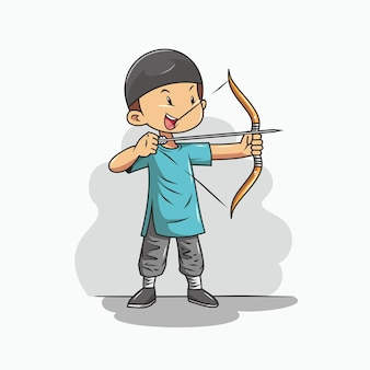 Boy is practicing archery