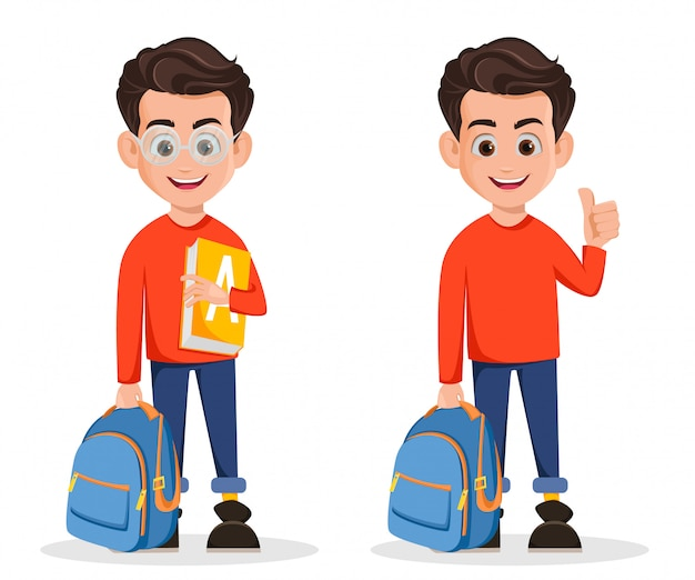 Boy is ready for school, cartoon character