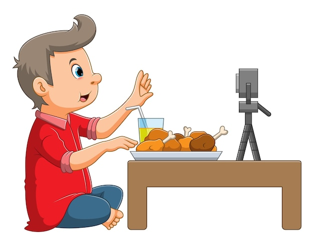 The boy is reviewing the food in front of the camera of the illustration
