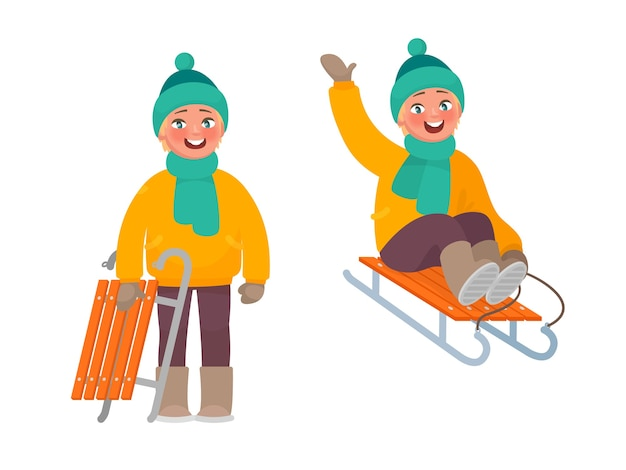 The boy is riding a sled
