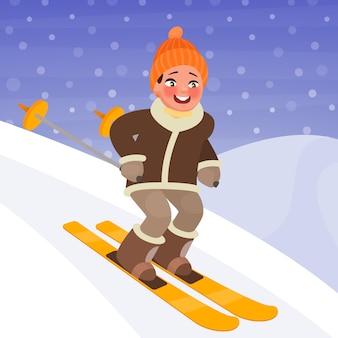 少年は山からスキーをしている