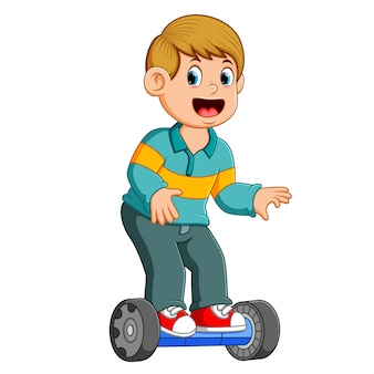 The boy is standing on the scooter electric smart balance