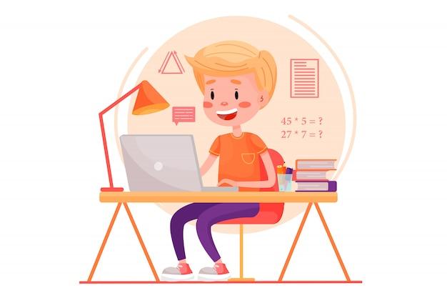 少年は自宅のテーブルのそばでラップトップを使ってオンラインで勉強しています。孤立した白地のウェブサイトの平らなイラスト。検疫は家のパンデミックにとどまります