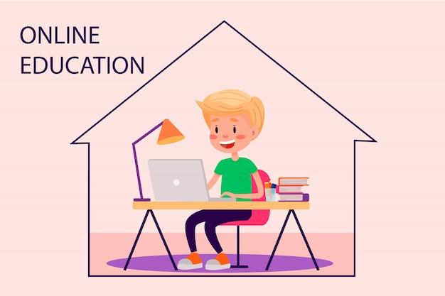 Мальчик учится онлайн с ноутбуком за столом у себя дома. векторная иллюстрация плоский для веб-сайтов. карантин остаться дома пандемии