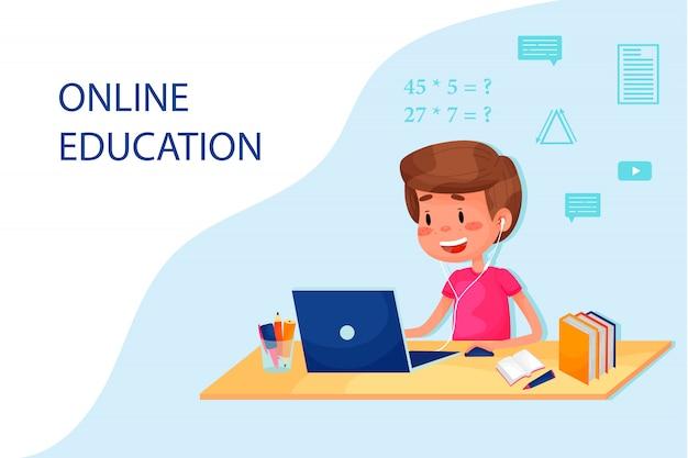 少年はテーブルのそばでラップトップを使ってオンラインで勉強しています。ウェブサイトのベクトルフラットイラスト。