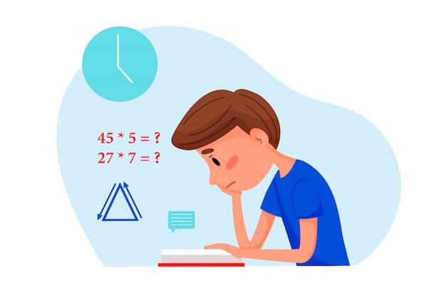 Мальчик учится с книгой на дому. векторная иллюстрация плоский для веб-сайтов.