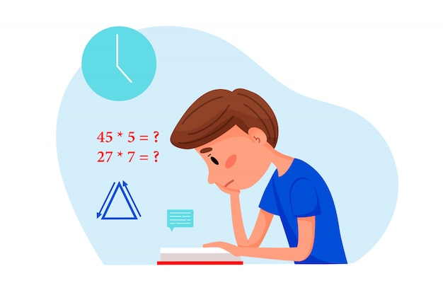 Boy is studying with book at home. vector flat illustration for websites.
